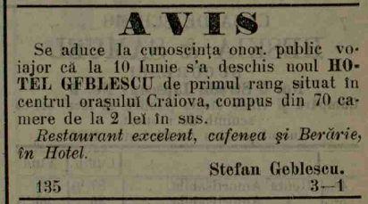 Anunt inaugurare Hotel Geblescu, Craiova