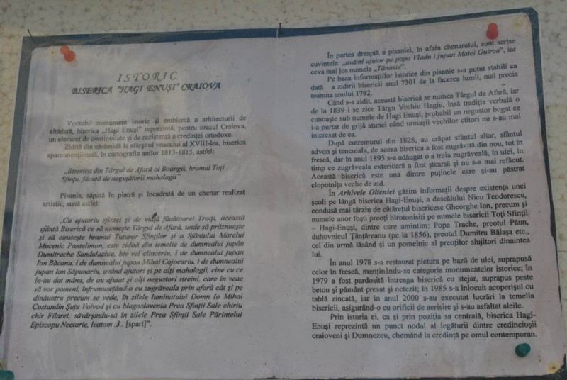 Panou cu istoricul bisericii Hagi Enus