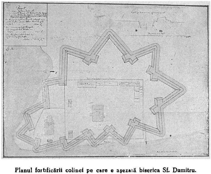 Planul fortificarii austriece a zonei din jurul Bisericii Sf Dumitru