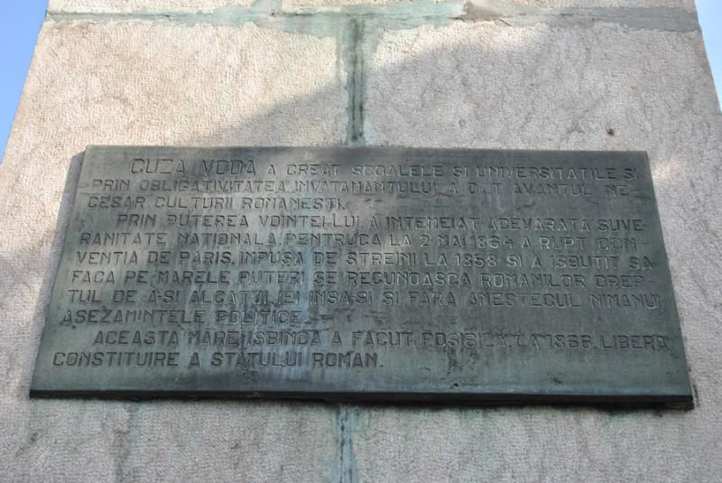 Statuia Alexandru Ioan Cuza Craiova - inscriptie
