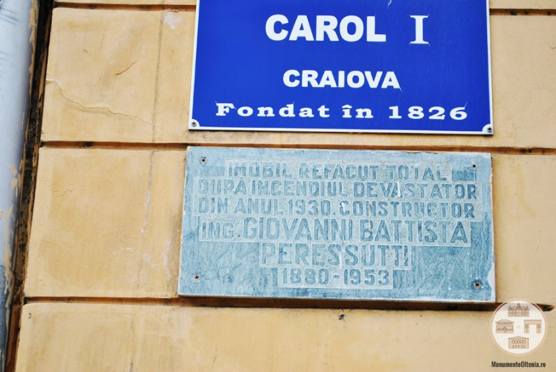 Liceul Carol I, Craiova - placuta Peressutti