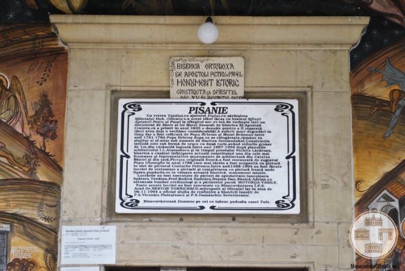 Biserica Sf. Apostoli, Craiova - pisania bisericii