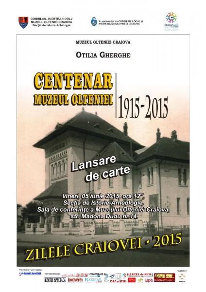 Afis lansare de carte Centenar Muzeul Olteniei