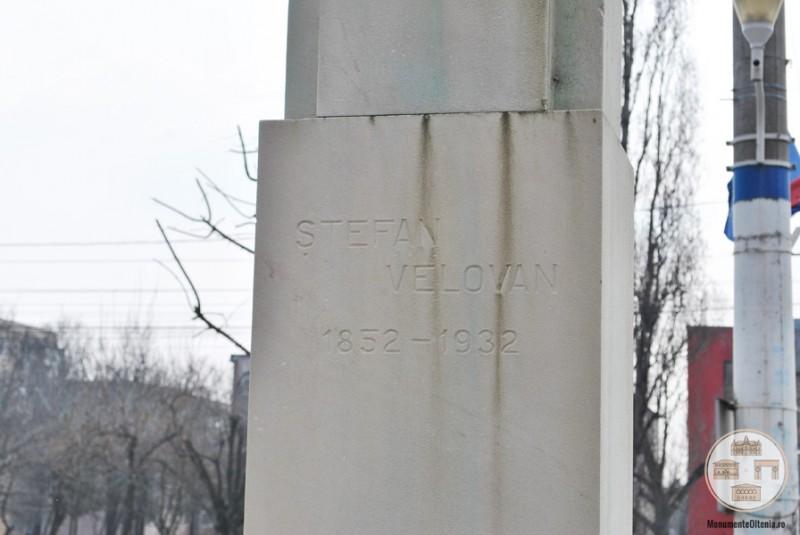 Bustul lui Stefan Velovan, Craiova - inscriptie