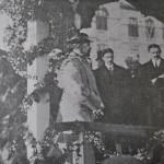 Principele Ferdinand, George si Barbu Stirbei si primarul Craiovei, Nicolae Guran, citindu-si cuvantarea