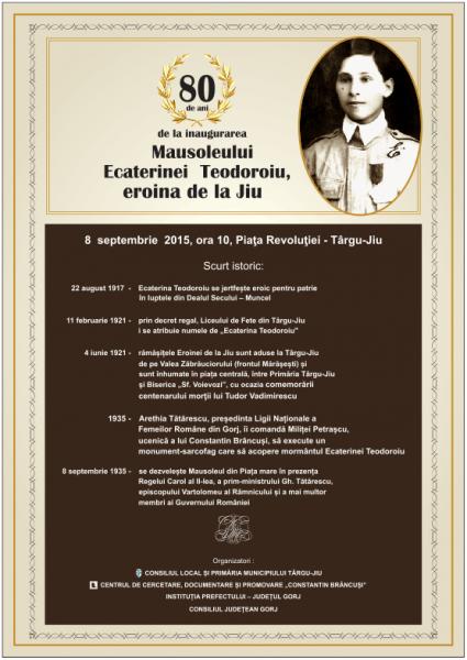 80 de ani de la inaugurarea Mausoleului Ecaterinei Teodoroiu