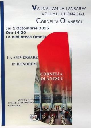 Lansare volum omagial Cornelia Olanescu