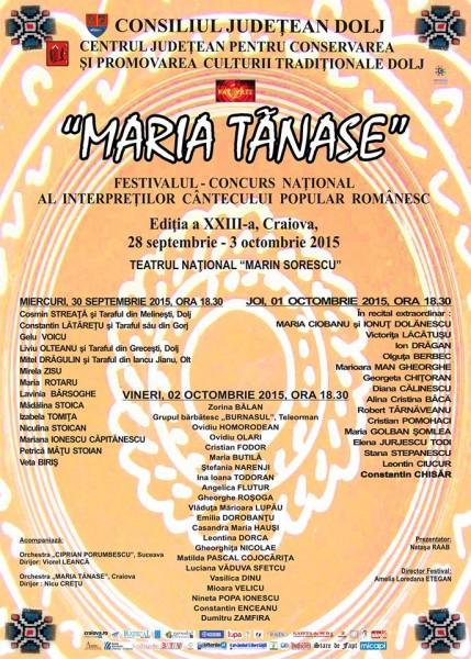 Programul Festivalului Concurs National al Interpretilor Cantecului Popular Romanesc Maria Tanase 2015