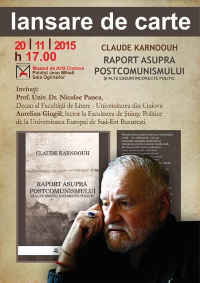 Afis Claude Karnoouh la Palatul Jean Mihail Craiova