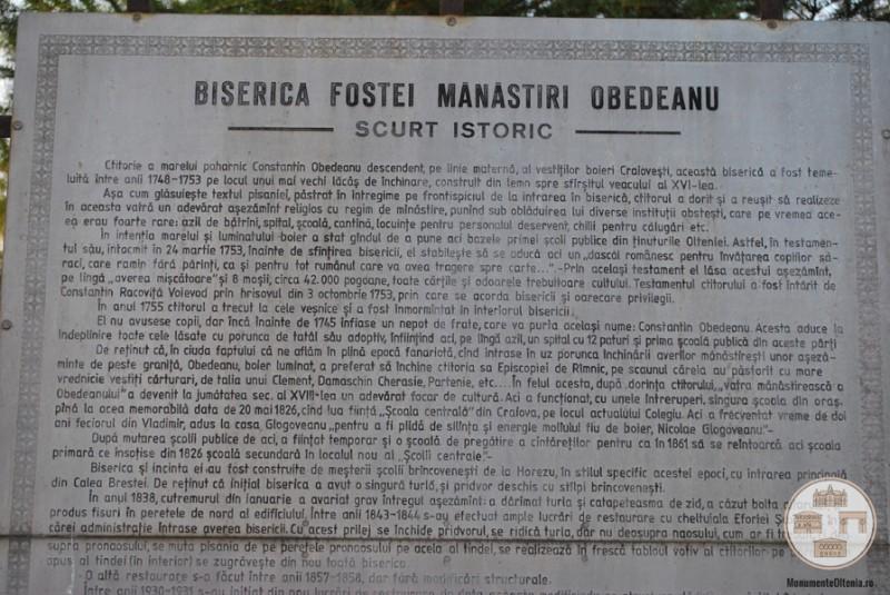 Biserica Obedeanu, Craiova - scurt istoric