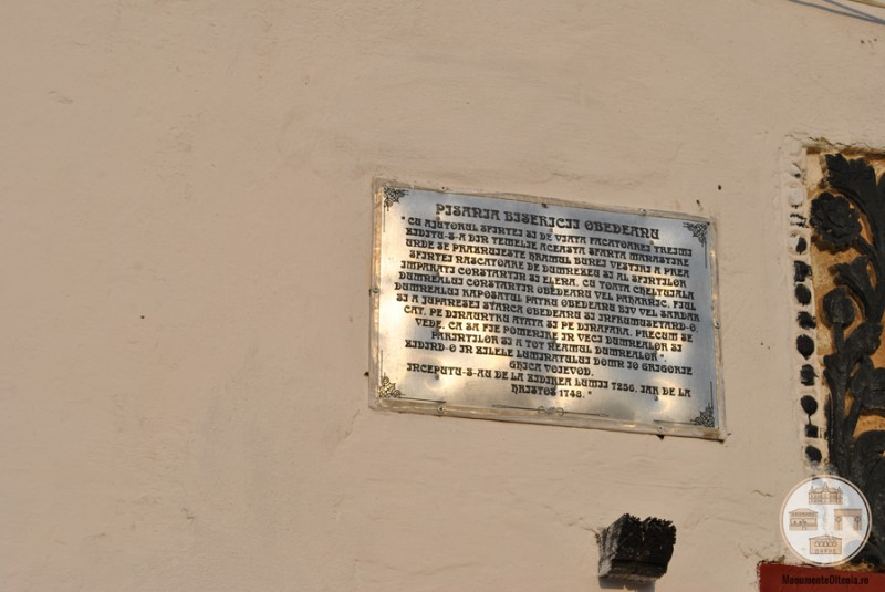 Biserica Obedeanu, Craiova - traducerea pisaniei originale