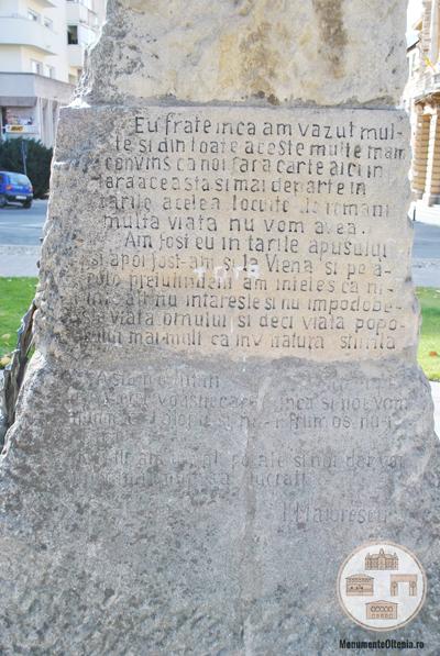 Bustul lui Ioan Maiorescu, Craiova - inscriptie spate soclu