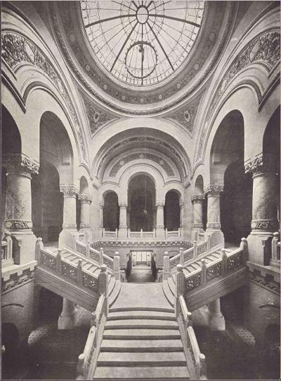 Palatul Administrativ din Craiova - scara principala de onoare (Cladiri si studii, Petre Antonescu, 1913)