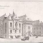 Palatul Administrativ din Craiova - vedere perspectiva a fatadei posterioare, intrarea secundara (Cladiri si studii, Petre Antonescu, 1913)