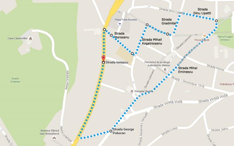 Harta centrul istoric al municipiului Slatina