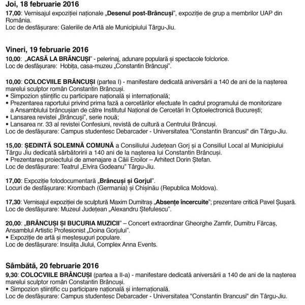Program evenimente Saptamana Brancusi 2016