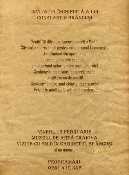 Ziua Brancusi, sarbatorita la Muzeul de Arta Craiova