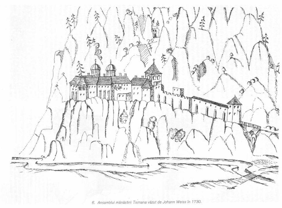 Ansamblul Manastirii Tismana vazut de Johan Weiss in 1730. Sursa BCMI 1999 nr 1-4