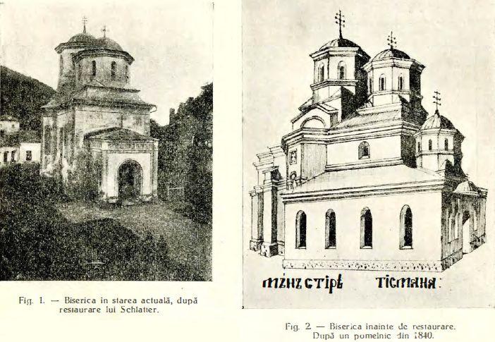 Biserica Manastirii Tsmana inainte si dupa restaurarea lui Schlatter. Sursa Buletinul Comisiunii Monumentelor Istorice 1934