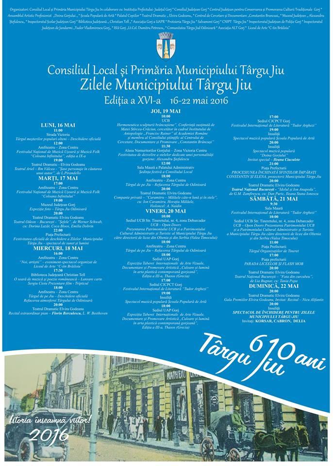Program Zilele Municipiului Targu Jiu 2016