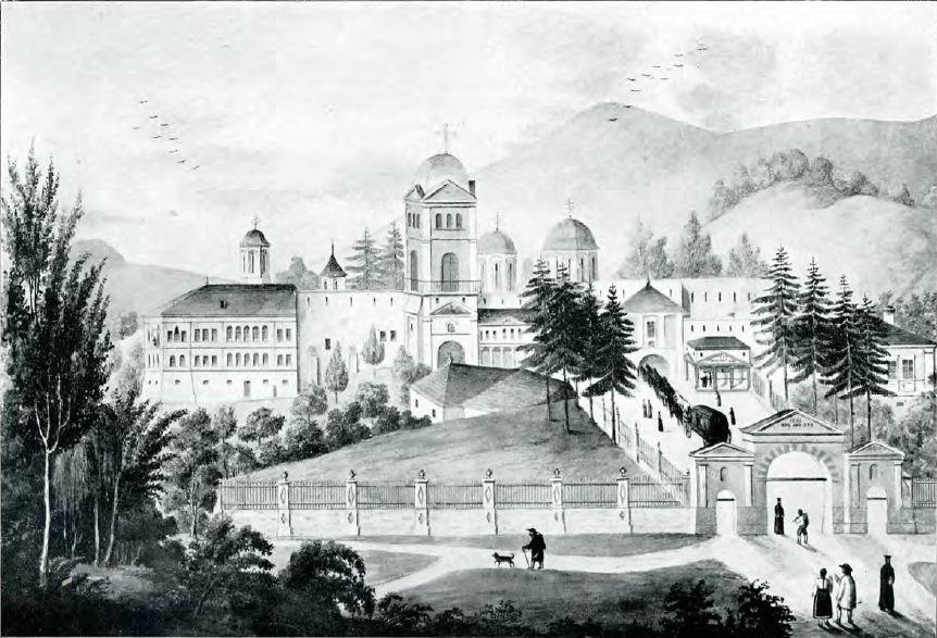 Manastirea Hurezi la 1850 - dupa o acuarela de pictorul Freiwald