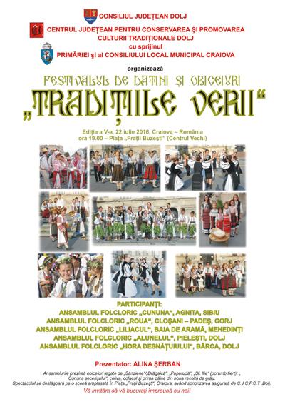 Afis Festivalul de datini si obiceiuri Traditiile Verii 2016
