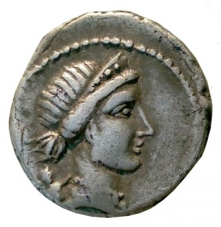 Avers denar roman descoperit la Desa