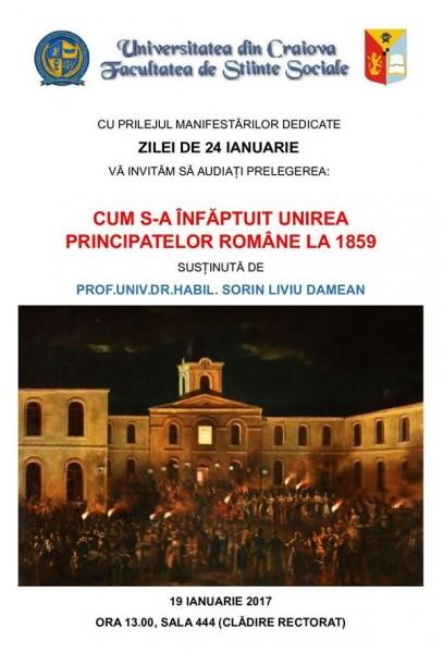 Prelegere despre Unirea Principatelor la Universitatea din Craiova