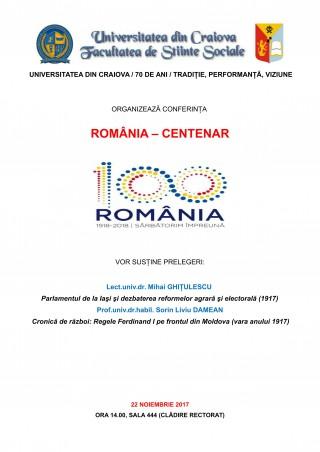 Conferinta Romania – Centenar la Universitatea din Craiova