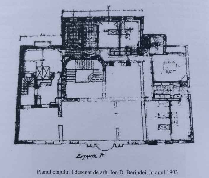 Planul etajului I, desenat de arh I D Berindei