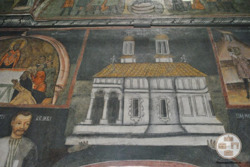 Biserica Sf Nicolae Amaradia Belivaca, Craiova - macheta bisericii in tabloul votiv
