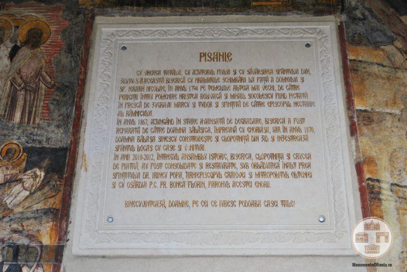 Biserica Sf Nicolae Amaradia Belivaca, Craiova - pisanie